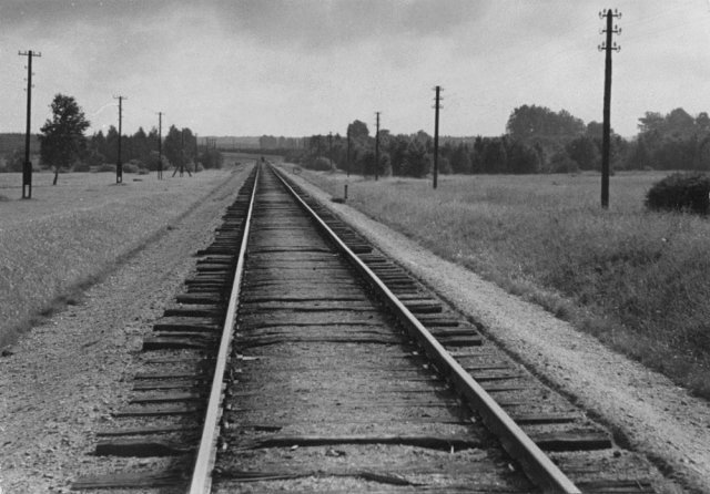 Geležinkelis ties Radžiūnais. B. Dūdos nuotr. Apie 1960 m.