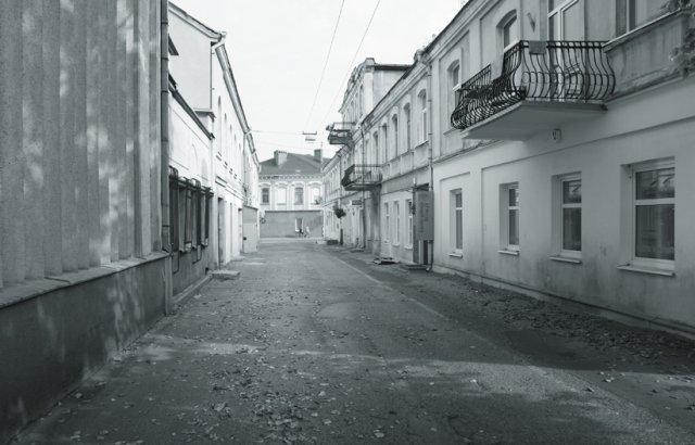 Panevėžio miesto gatvės fragmentas.