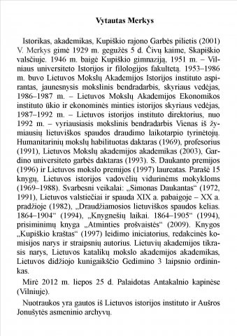 Vytauto Merkio biografija