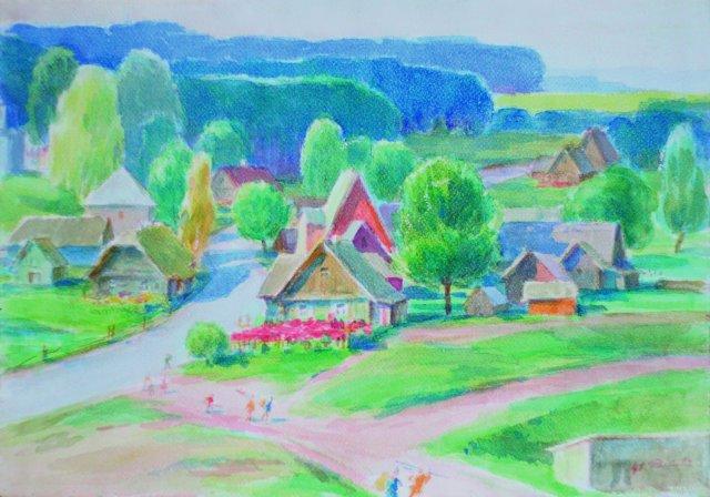 12. Palūšė. 1964. Kart, akvarelė. 47X37. KEM.