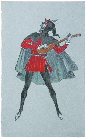 13. Mefistofelio kostiumo eskizas Johano Volfgango Gėtės tragedijai Faustas. Neįgyvendinta, 1964 m. Pop., pieštukas, guašas, tušas. 36,7X23,2. LTMKM.