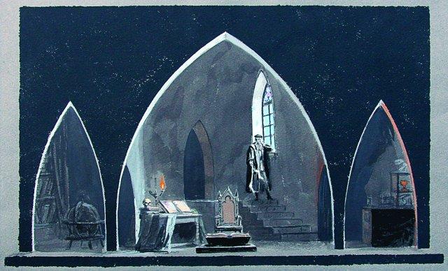 14. Scenovaizdžio eskizas Johano Volfgango Gėtės tragedijai Faustas. Neįgyvendinta, 1964 m. Pop., guašas, tušas. 45,9X62,1. LTMKM.