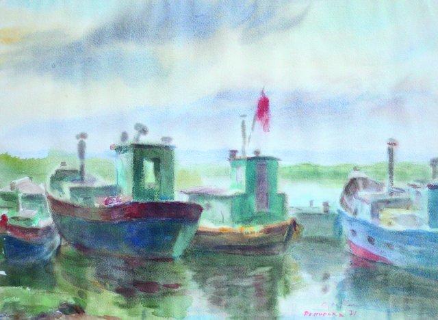 17. Dreverna. 1971. Pop., akvarelė. 43,5X59,5. Reginos Narbutienės nuosavybė.