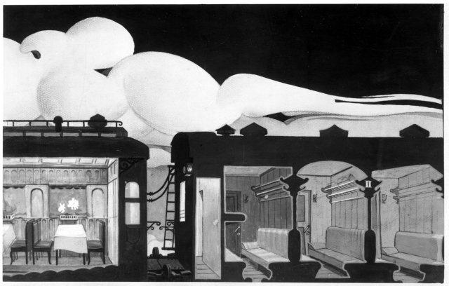 2. Dekoratyvinis eskizas Augustino Griciaus komedijai Palanga. 1932. Kart., guašas. (Be išmatavimų). Kopija – LTMKM.