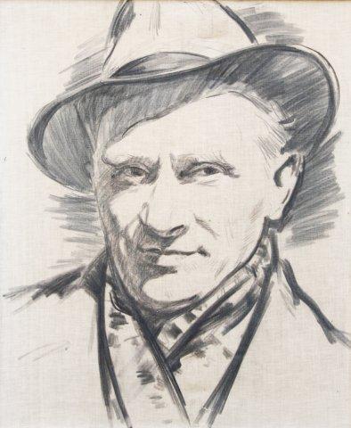 5. Vladas Karatajus. Vytauto Palaimos portretas. (Sukurtas iš nuotraukos). 1976 m. Drb., anglis. 68X55,4. Juozo Palaimos nuosavybė.