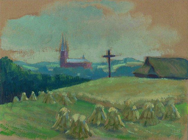 6. Miestelio vaizdas. 1925. Kart., al. 30,5X25,5. Juozo Palaimos nuosavybė.