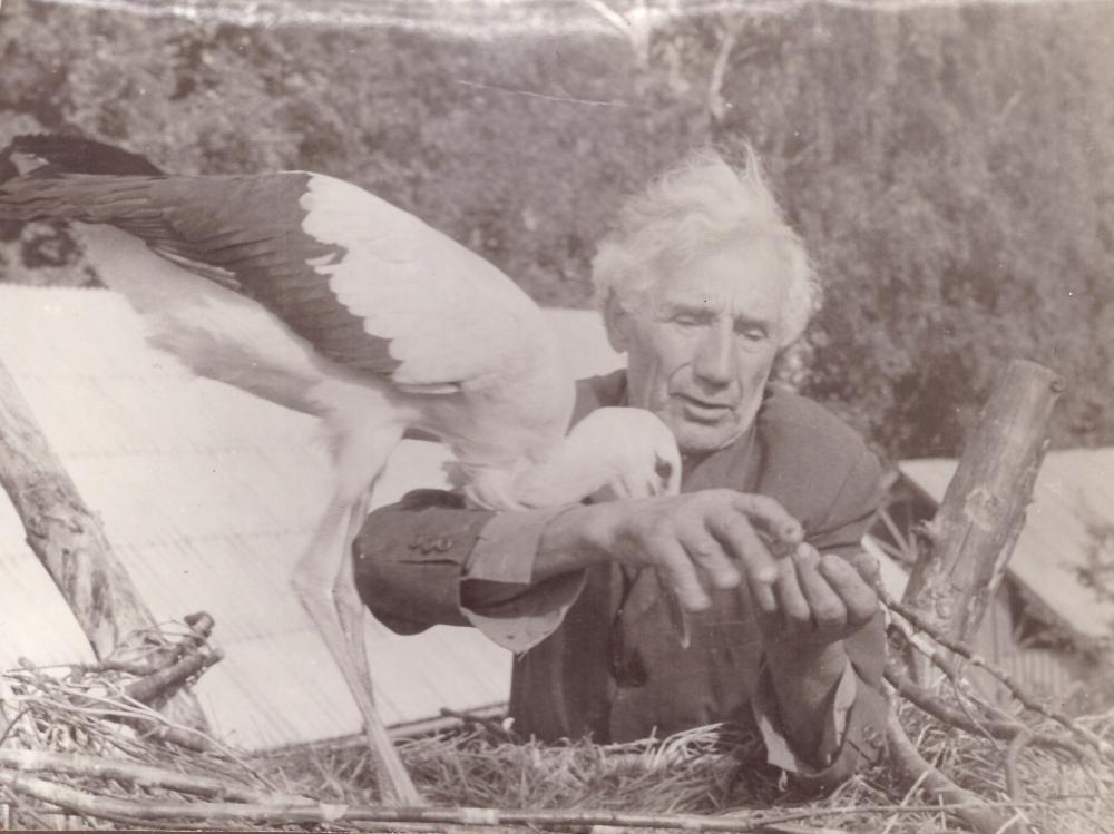 Adomas Petrauskas su savo augintiniu gandru, 1993 m. GEK 1133