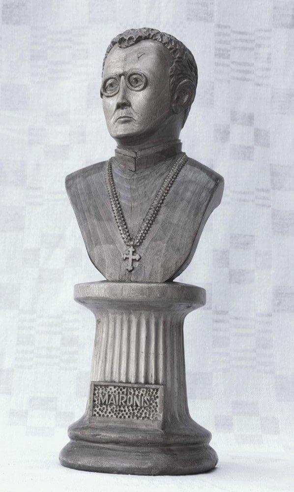 Biustas (medinis, 'Maironis' ant kolonos, 1986 cm.)