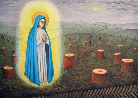 """""""Švč. Mergelės Marijos apsireiškimas Anykščių šilelyje"""" Drobė, aliejus. 2019 m."""
