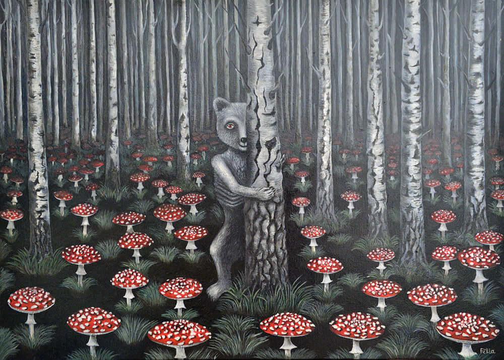"""""""Meškos albinosės raudonas badas"""" Drobė, aliejus. 2005 m."""