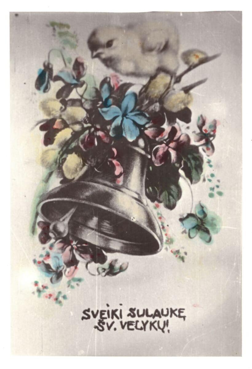 """19. P. m. PF 1754 atvirukas """"Sveiki sulaukę Šv. Velykų!"""", 13 x 8,5 cm."""