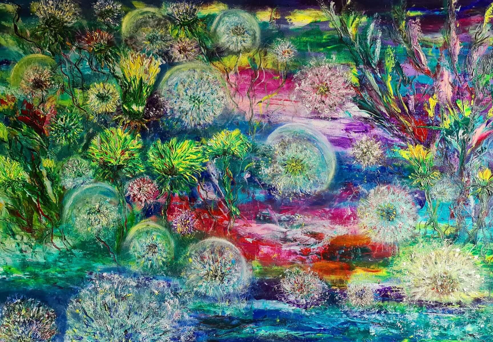 ,,Magiškas sodas''. Drobė – aliejus, 70 – 100 cm. 2020 m.