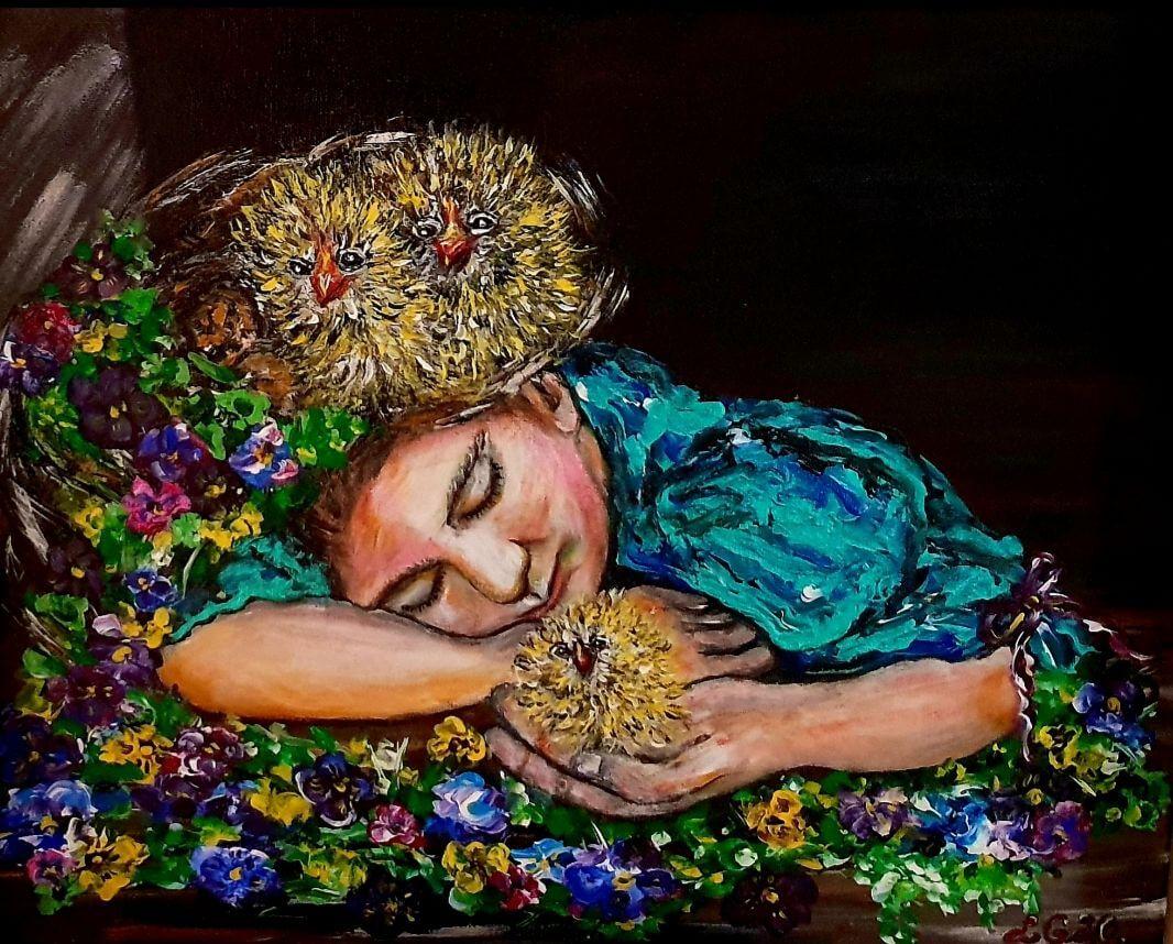 ,,Mergaitė su viščiukais''. Drobė – aliejus, 50-40 cm. 2020 m