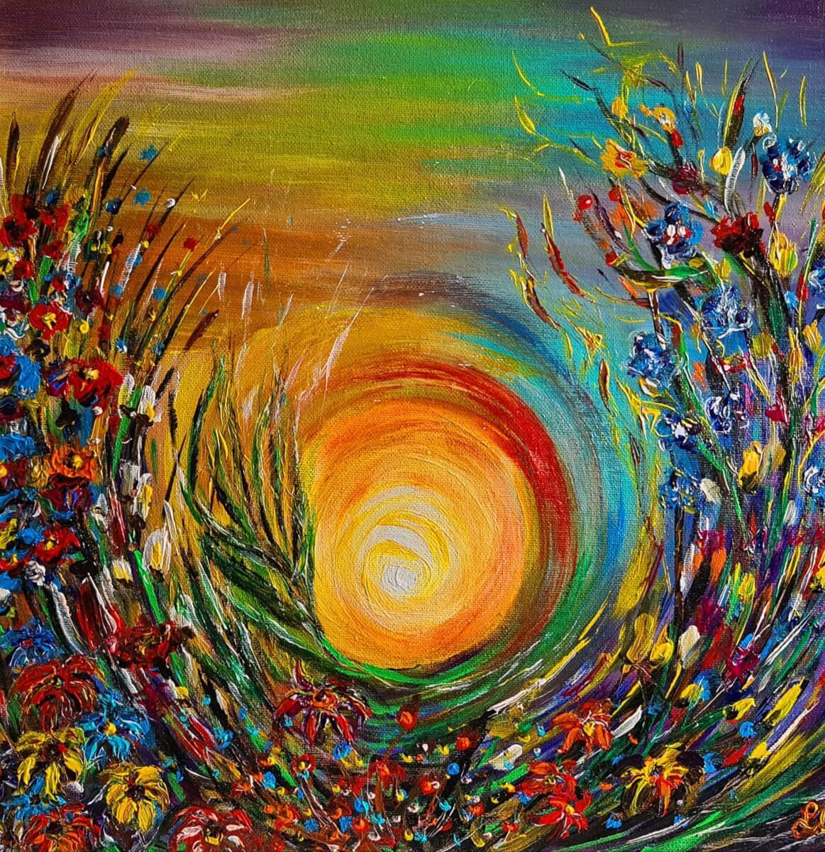 ,,Saulė gėlėse''. Drobė – akrilas, 40- 40 cm. 2018 m.
