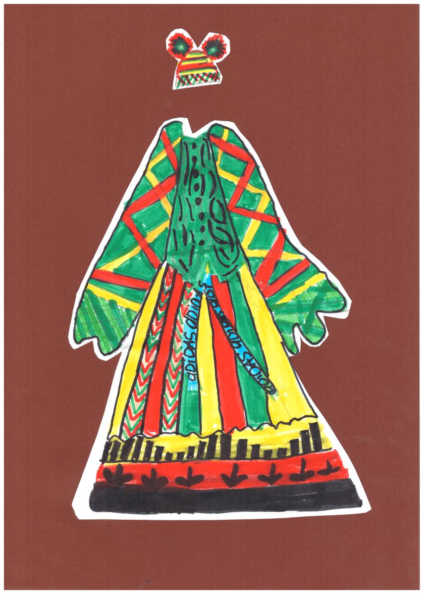 Asveja Šlapelytė. 13 m. Žalia, geltona. Rokiškio r. Pandėlio gimnazija. (Mok. Aušra Viduolienė)