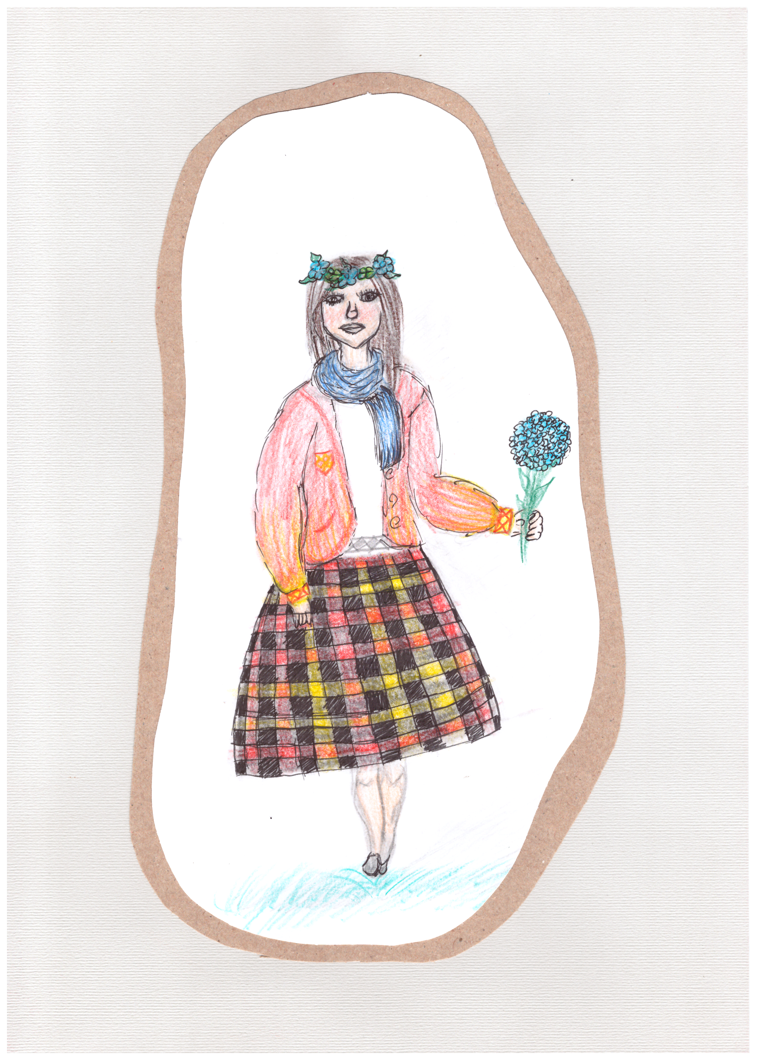 Evinga Kalantaitė. 15 m. Šiuolaikinio tautinio kostiumo eskizas. Subačiaus gimnazija, Kupiškio r. (Mok. Lina Riaubienė)