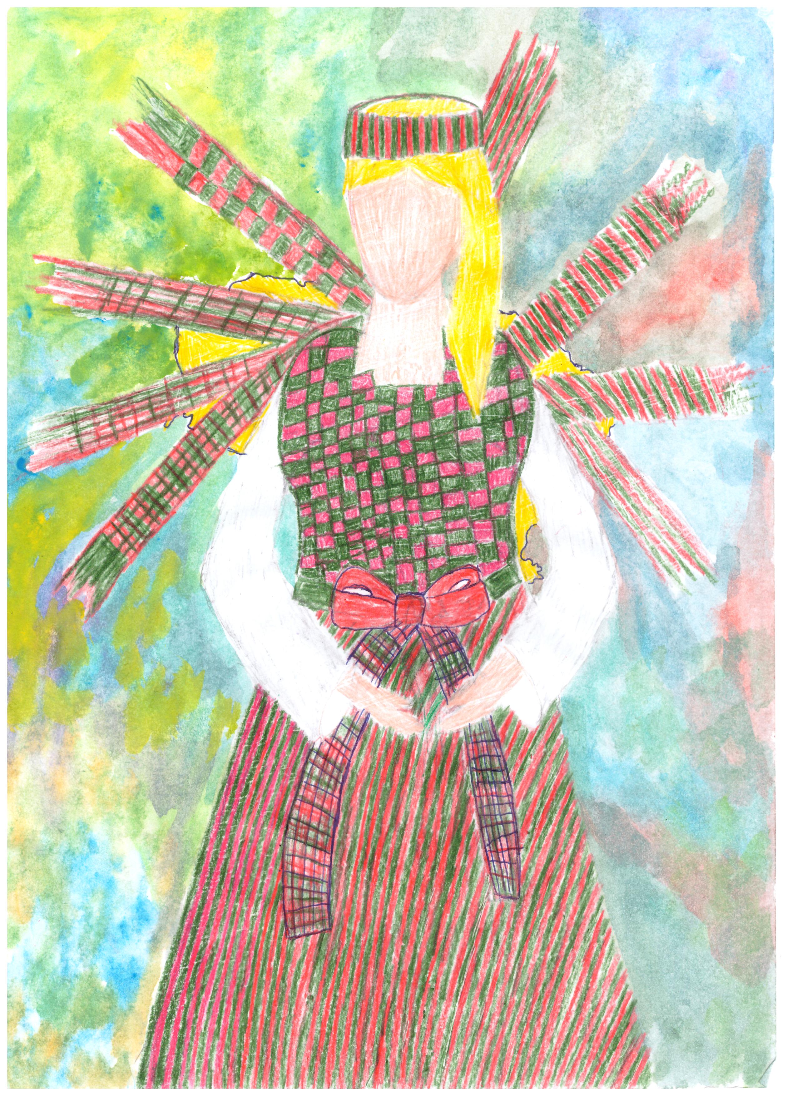 Gabrielė Kirklytė. 18m. Šiuolaikinio tautinio kostiumo eskizas. Subačiaus gimnazija, Kupiškio r. (Mok. Lina Riaubienė)