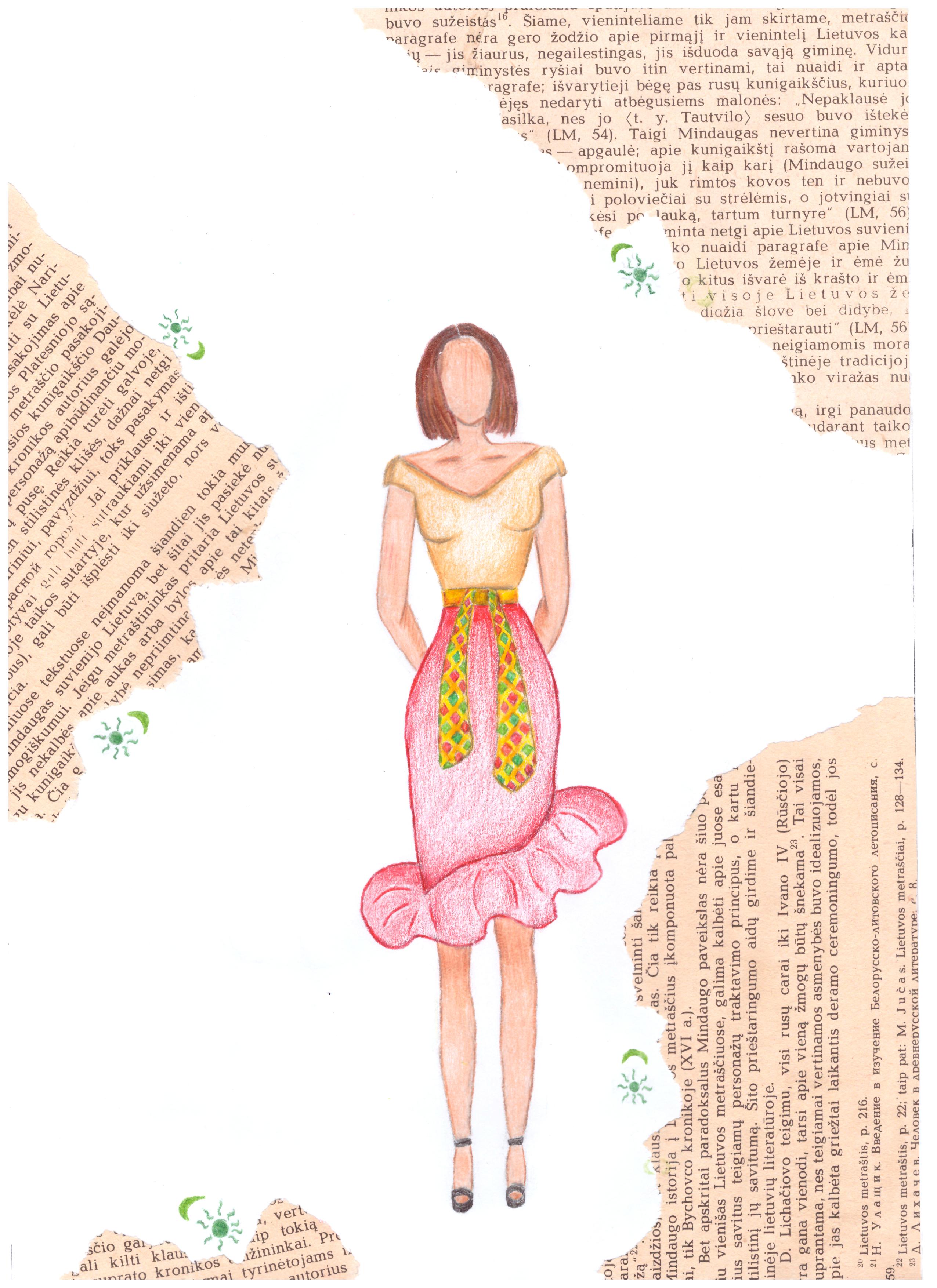 Kamilija Karpavičiūtė. 17 m. Šiuolaikinio tautinio kostiumo eskizas. Subačiaus gimnazija, Kupiškio r. (Mok. Lina Riaubienė)