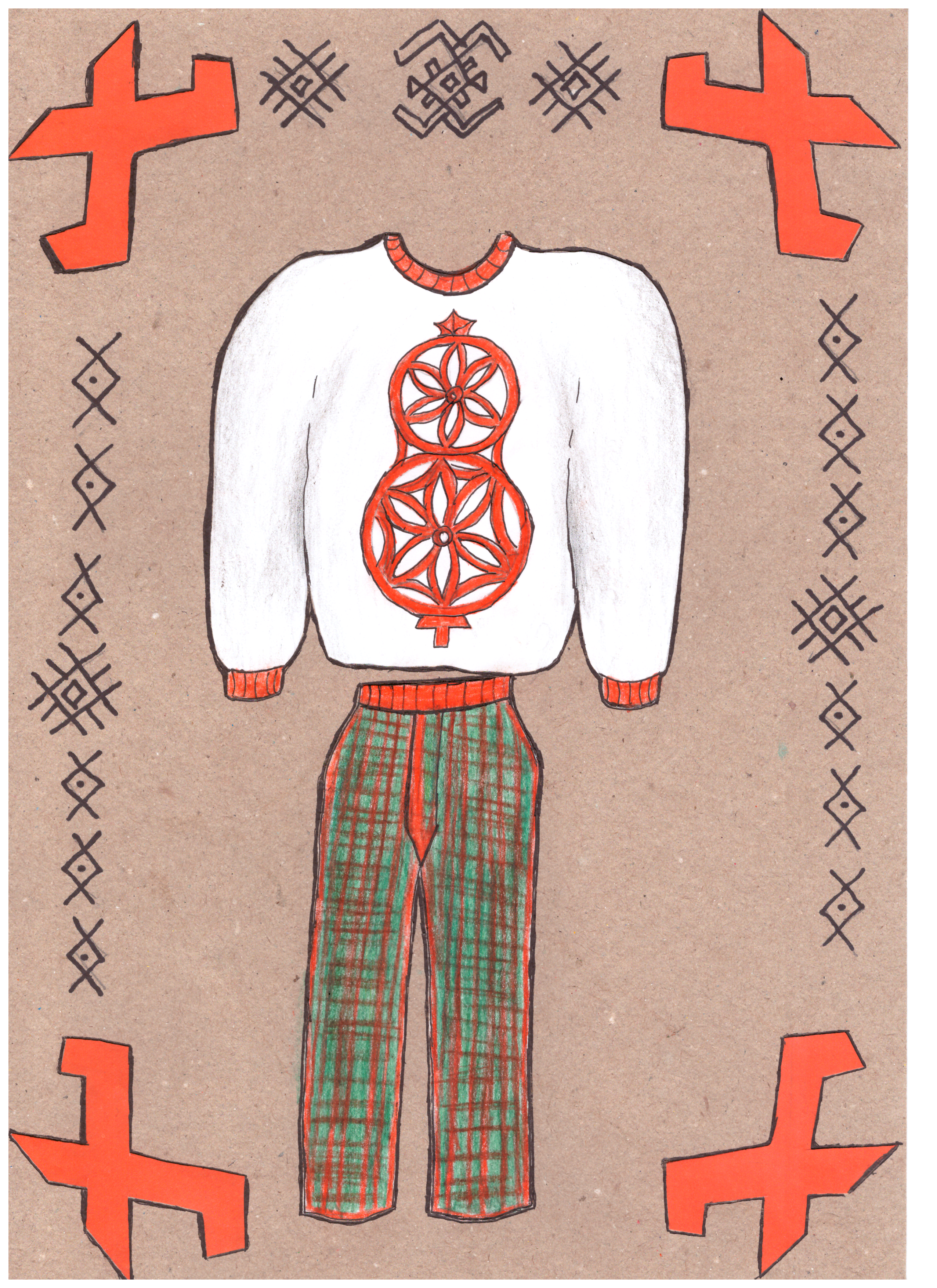 Olia Dulys. 18 m. Šiuolaikinio tautinio kostiumo eskizas. Subačiaus gimnazija, Kupiškio r. (Mok. Lina Riaubienė)