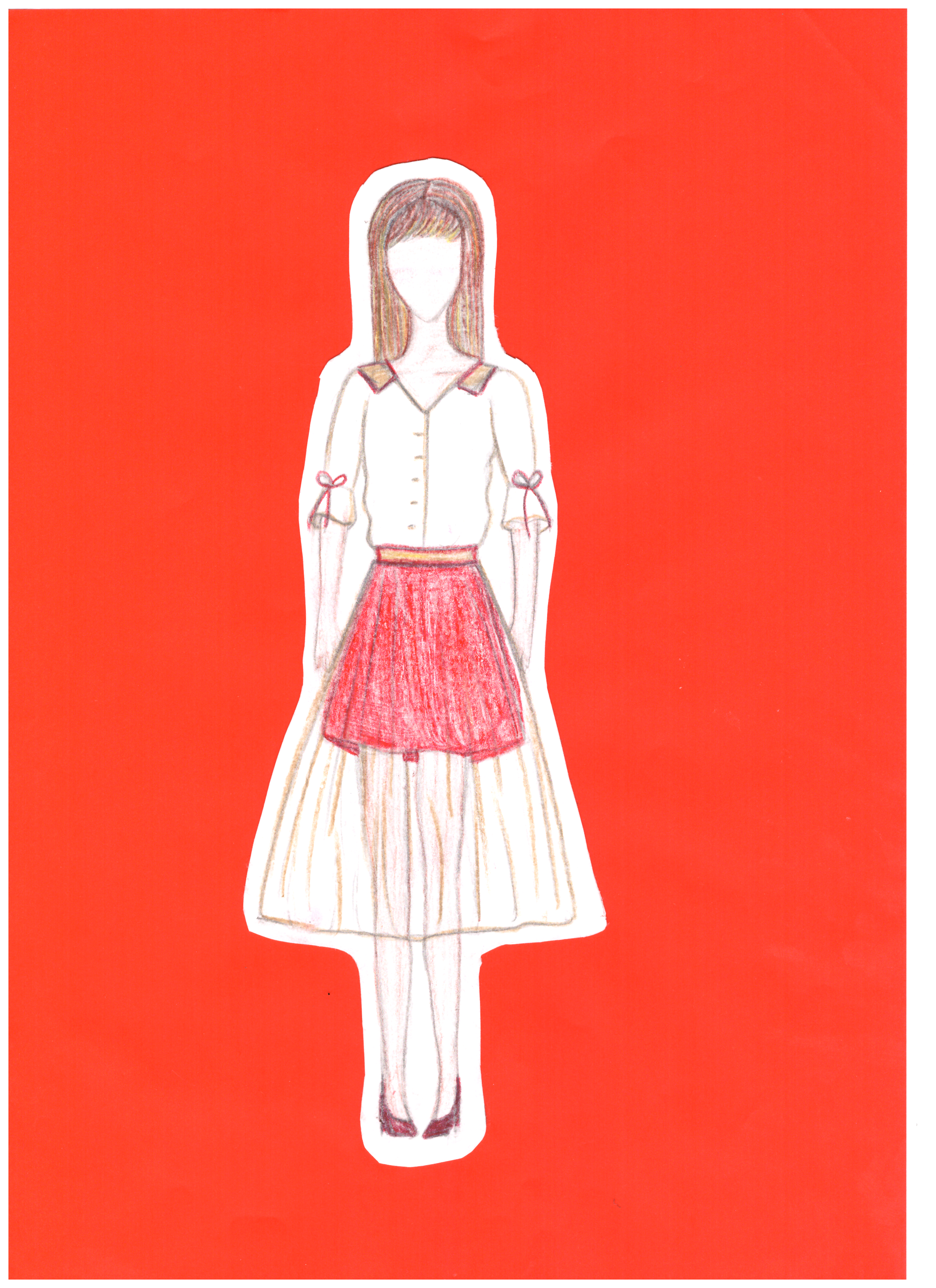 Ugnė Kopūstaitė. 16 m. Šiuolaikinio tautinio kostiumo eskizas. Subačiaus gimnazija, Kupiškio r. (Mok. Lina Riaubienė)